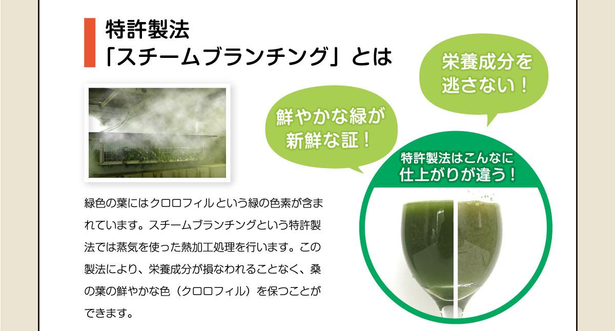 特許製法 「スチームブランチング」とは。緑色の葉にはクロロフィルという緑の色素が含まれています。スチームブランチングという特許製法では蒸気を使った熱加工処理を行います。この製法により、栄養成分が損なわれることなく、桑の葉の鮮やかな色(クロロフィル)を保つことができます。