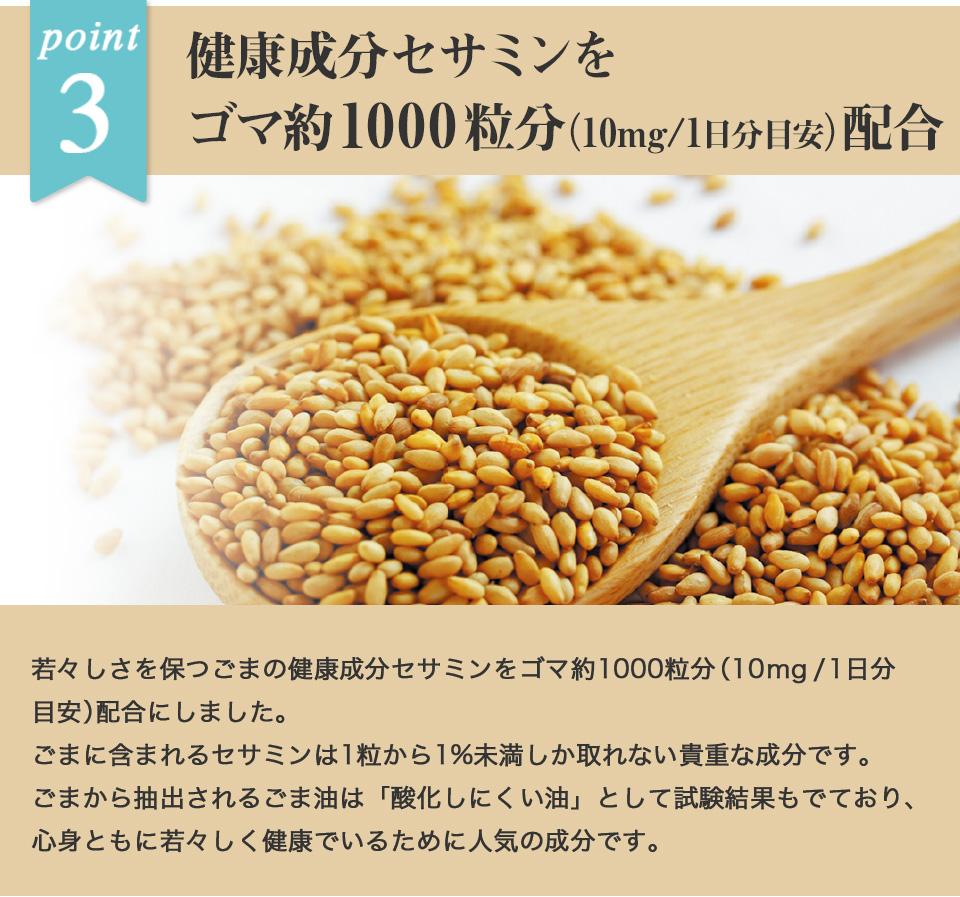 ポイント3 健康成分セサミンをゴマ約1000粒分配合